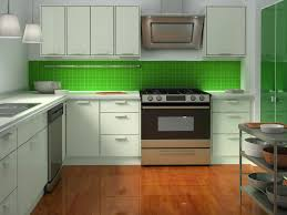 White Painted L Shaped Kitchen Cabinet With White Countertop