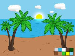 how to draw a beach scene