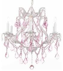 white crystal chandelier with pink crystal
