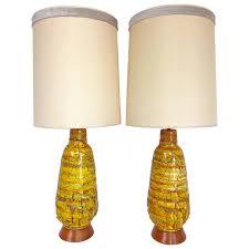 mid century pair of monumental ceramic drip glaze lava lamps signed f a i p