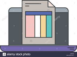 Colorful Silhouette Of Laptop Computer And Billing Sheet Stock