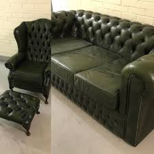 genuine antique emerald green chesterfield sofa set