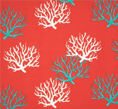 Small Picture Coral Turquoise Blue Coastal Indoor Outdoor Fabric by the Yard