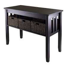 sofa table with storage baskets. Winsome Wood Morris Console Table With 3 Storage Baskets, Espresso Finish Sofa Baskets N