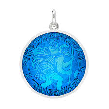 medium silver st christopher medal with caribbean blue enamel