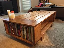 slat coffee table with incorporated