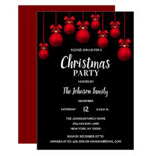 Holiday Christmas Party White Red Black Ornaments Invitation