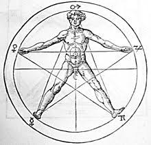 The drawing of a man's body in a pentagram suggests relationships to the  golden ratio.