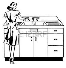 clean kitchen clipart black and white. Interesting White A Black And White Version Of A Vintage Illustration Woman Washing  Dishes Intended Clean Kitchen Clipart Black And White