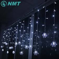 Snowflake Solar Christmas Lights Us 11 11 35 Off Holiday Lighting 3 5m 96 Led Snowflake Fairy Curtain Led String Lights Outdoor Waterproof Christmas Lights For Home Decoration In