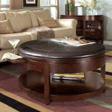 Coffee Table:Brown Round Leather Ottoman Coffee Table Round Coffee Table  Ottomans Round Leather Storage