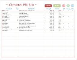 Gift Chart Template Excel Christmas List Template