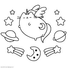 Pusheen Unicorn Cat Coloring Page Get Coloring Pages
