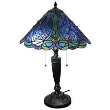 amora lighting 24 in tiffany style and blue table lamp