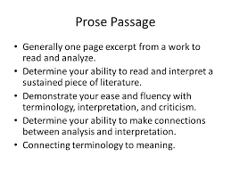 response essays prose passage generally one page excerpt from a 2 prose