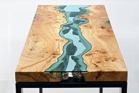 Exellent Unique Wood Furniture Wooden Tables Embedded With Glass Rivers And Lakes For Concept Ideas
