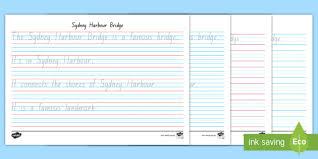 Sydney Harbour Bridge Year 1 Handwriting Practice Worksheet