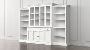 cameo 4 piece white glass door wall unit w open bookcases crate and barrel