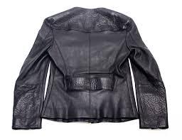 authentic louis vuitton women s black biker leather jacket gold accent zippers