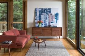 mid century modern living room. Mid Century Modern Living Room Bold Maroon Loveseat With Higher Armrests And Slating Legs Round Top