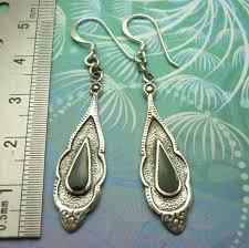 vintage sterling silver earrings black onyx style 6