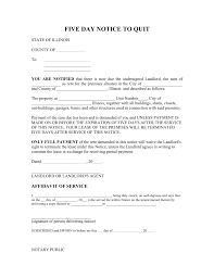 5 day eviction notice illinois form illinois 5 day notice to quit form non payment of rent eforms