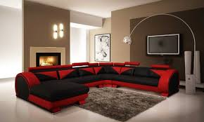 modern living room black and red. Living Room, Black And Red Room Blue Rug Colorful Cushions White Wooden Base Glass Bay Modern