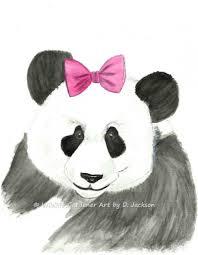 giant panda with pink hair bow watercolor art print nursery decor kids art on giant panda wall art with giant panda with pink hair bow art print from original watercolor