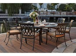 darlee outdoor living standard capri cast aluminum 9 piece dining set with 71 inch round dining table in antique bronze 201660 9pc 99ld
