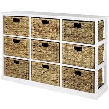 sentinel hartleys 3x3 white wood storage unit 9 wicker drawer baskets damaged 388