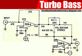 turbo bass or bass booster circuit using ic lm324 multiple output turbo bass or bass booster circuit using ic multiple output bass bosster using two op amp in one ic you must to try this turbo bass circuit for boost bass