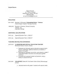 Sample Resume Objectives For Special Education Teachers Throughout