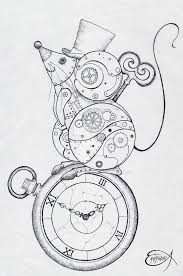 Steampunk Coloring Page. Steampunk Clockwork Mouse WIP by  EpHyGeNiA.deviantart.com on @