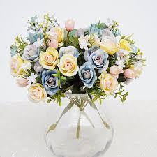 2019 Artificial Flowers <b>13 Heads</b>/<b>Bouquet</b> Small Bud Silk Roses ...