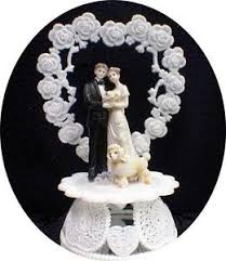 White Poodle Dog Bride Groom Wedding Cake Topper Top Puppy Pet Heart