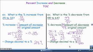 percent increase and percent decrease