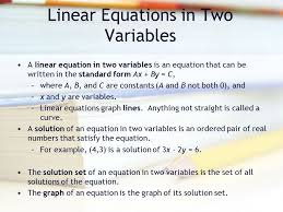2 linear equations in two variables