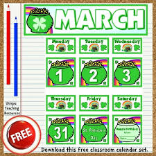 Calendar Pocket Chart Set Free Printable March Classroom Calendar For School Teachers