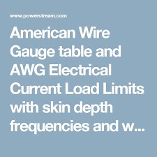 American Wire Gauge Table And Awg Electrical Current Load