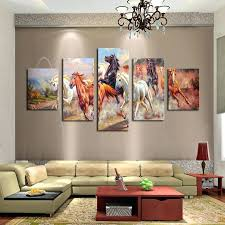 large canvas wall art unframed 5 panels canvas print painting modern running horse canvas wall large canvas wall art