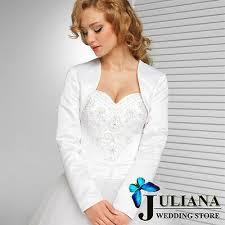 <b>New</b> Fashion Long Sleeve White And <b>Ivory Satin</b> Wedding Jacket ...