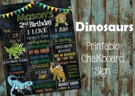 chalkboard birthday sign dinosaurs poster diy printable
