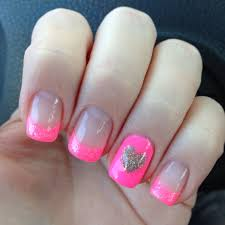 Pink Purple And Silver Nail Designs Pink W Silver Heart Nail Design But Maybe Purple Instead