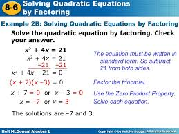 example 2b solving quadratic equations by factoring