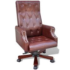 brown leather office chairs. Brown Artificial Leather Office Chair Adjustable Swivel15 Chairs