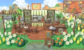 Just download the code and you can add anyone's custom design to your own game. Acnh Cafe Design Ideas Codes Animal Crossing New Horizons Coffee Shop Stall Menu Floor Sign Designs