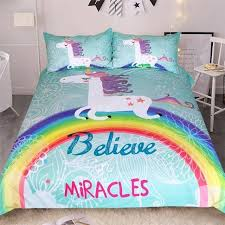 rainbow unicorn bedding set believe miracles cartoon single queen king size bed duvet cover animal for
