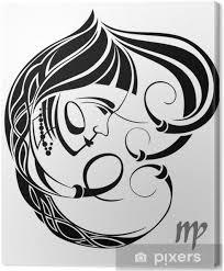Obraz Panna Znamení Vektor Signtattoo Konstrukce Na Plátně