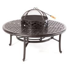nassau cast aluminum patio furniture fire pit 52 ice tea insert round table