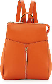 neiman marcus faux leather zip top backpack orange
